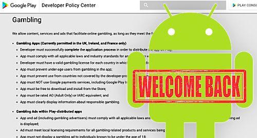 Google Play официално приветства приложенията за хазарт с реални пари